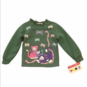 NWT Vintage green cat sweater 4T (top only)